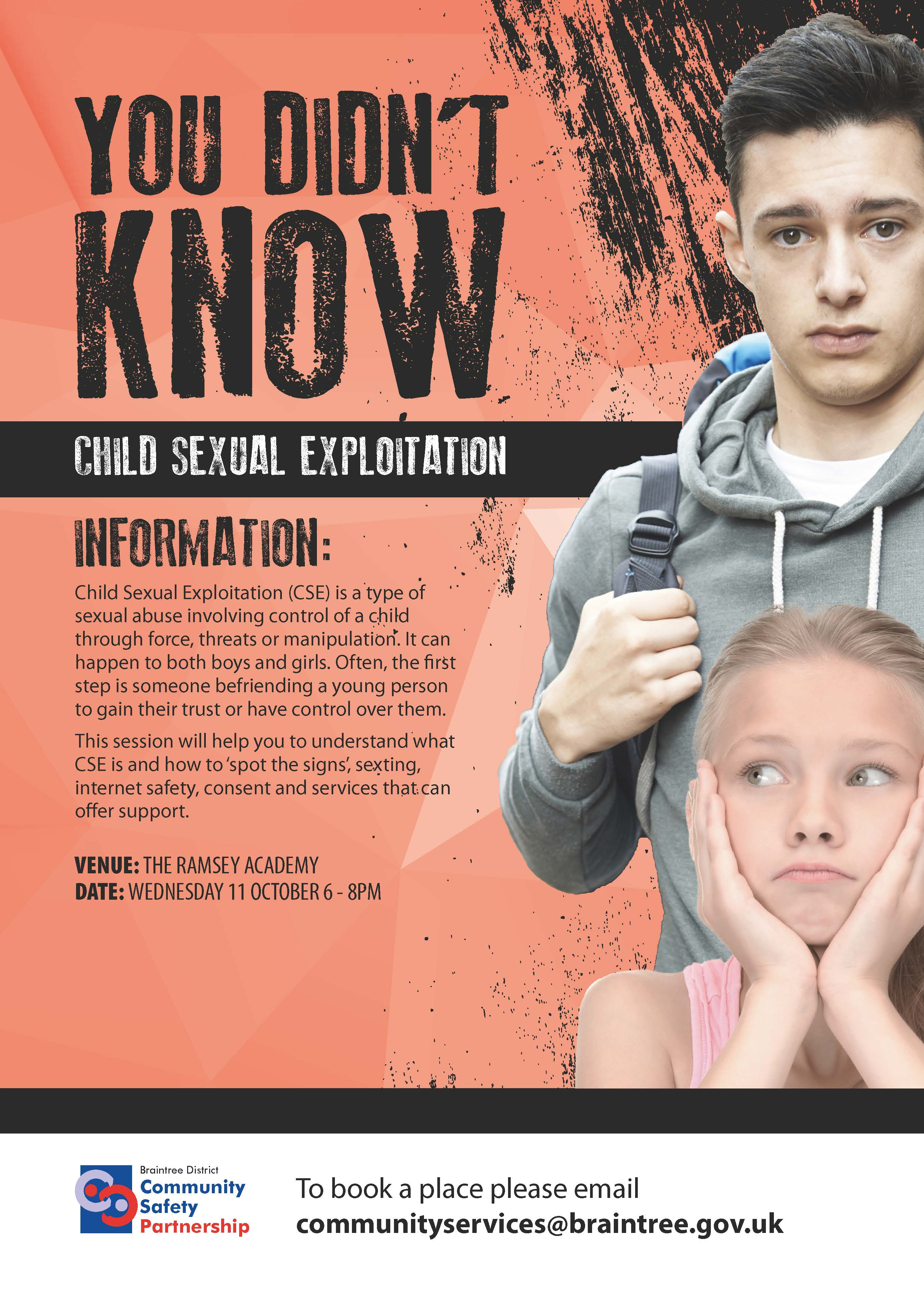 Child Sexual Exploitation Workshop Wednesday 11 October 6pm - 8pm.