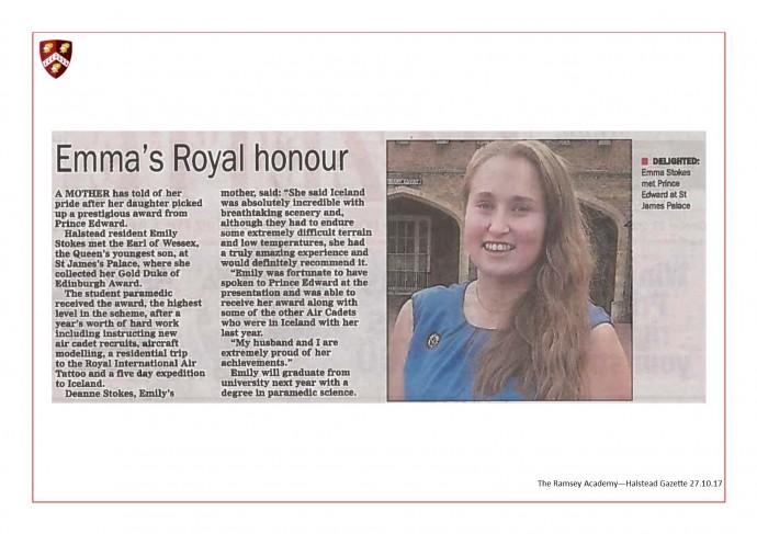 Ex-Students Royal Honour 27.10.17