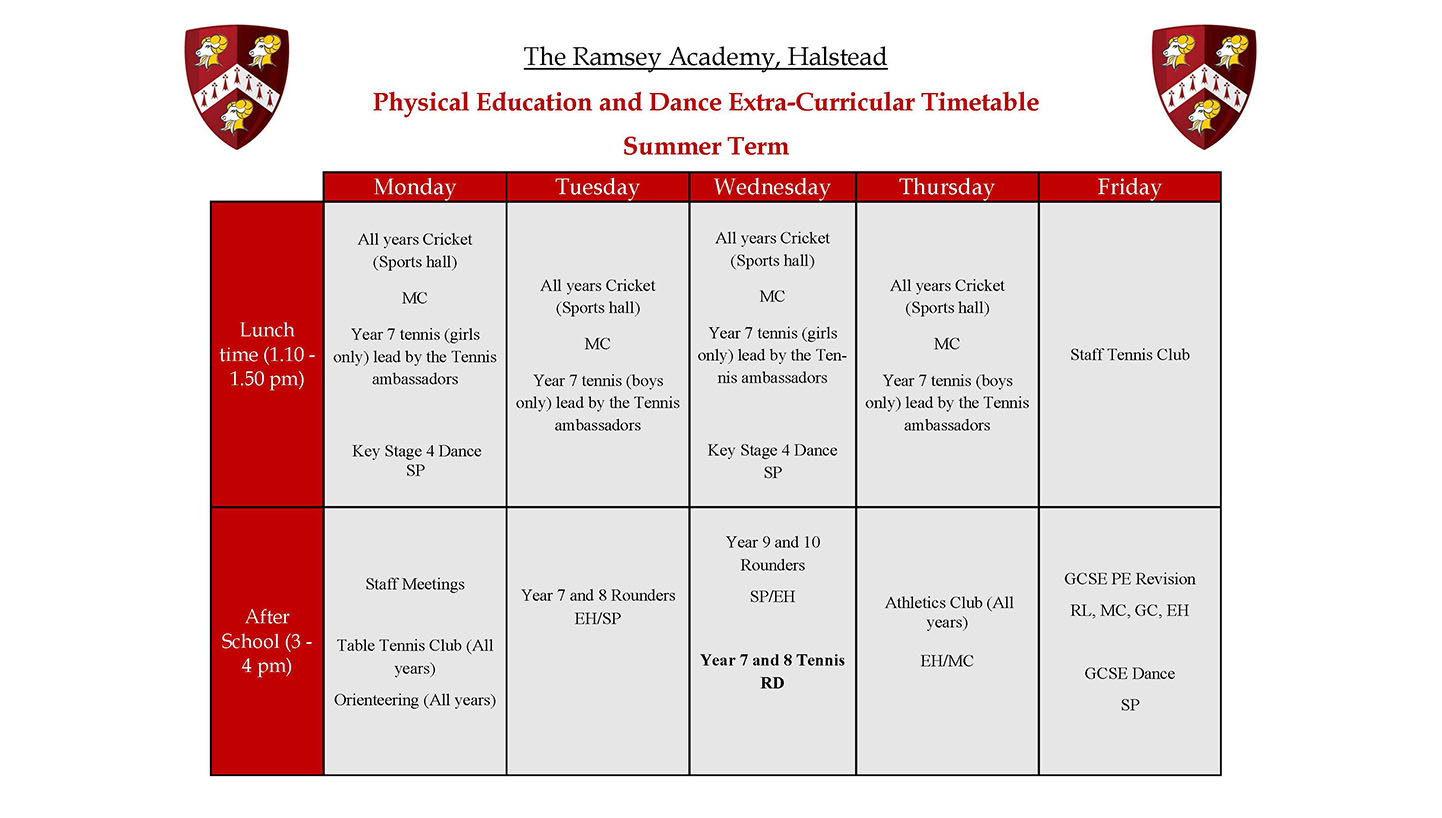 Summer PE Extra Curricular Timetable