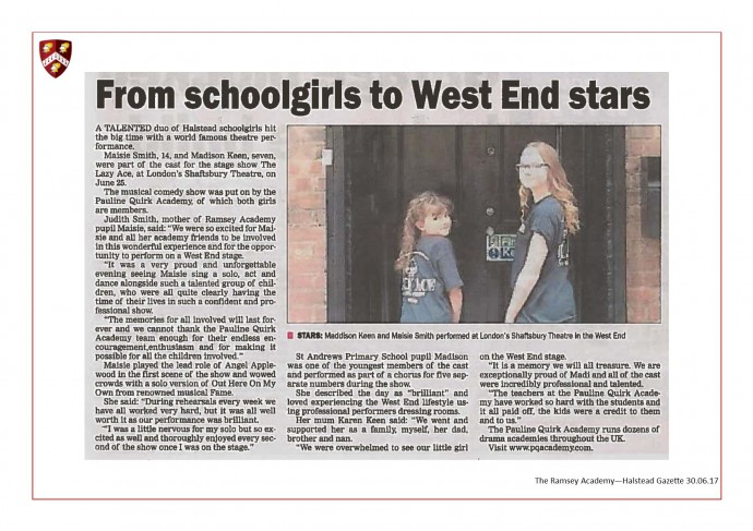 From School Girls to West End Stars 30.06.17