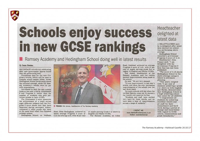 Schools Enjoy Success in New GCSE Rankings 20.10.17