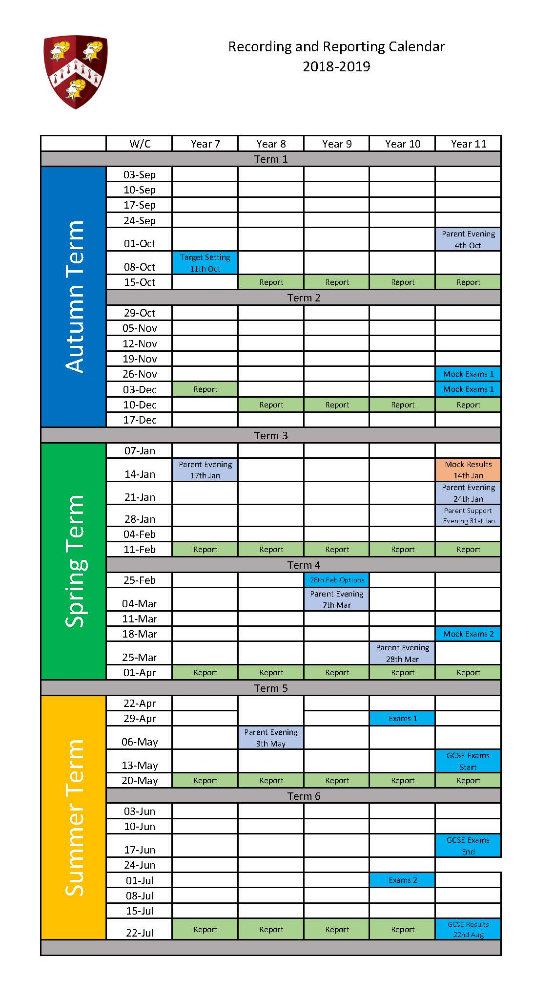 Copy of Copy of Recording and Reporting Calendar 2018 19