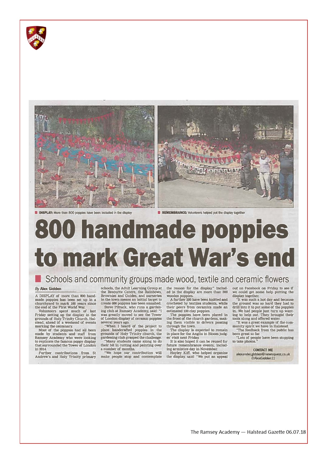 800 Handmade Poppies To Mark Great War's End 06.07.18