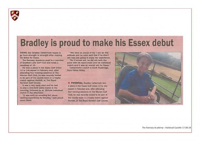 Bradley Is Proud To Make His Essex Debut 17.08.18