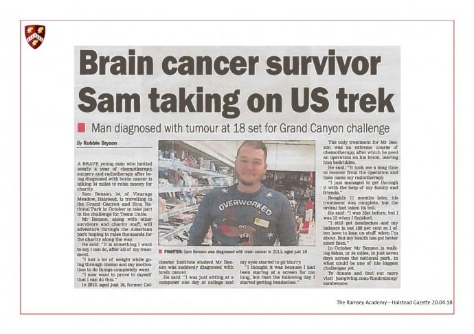 Brain CancerSurvivor Sam Taking On US Trek 20.04.18
