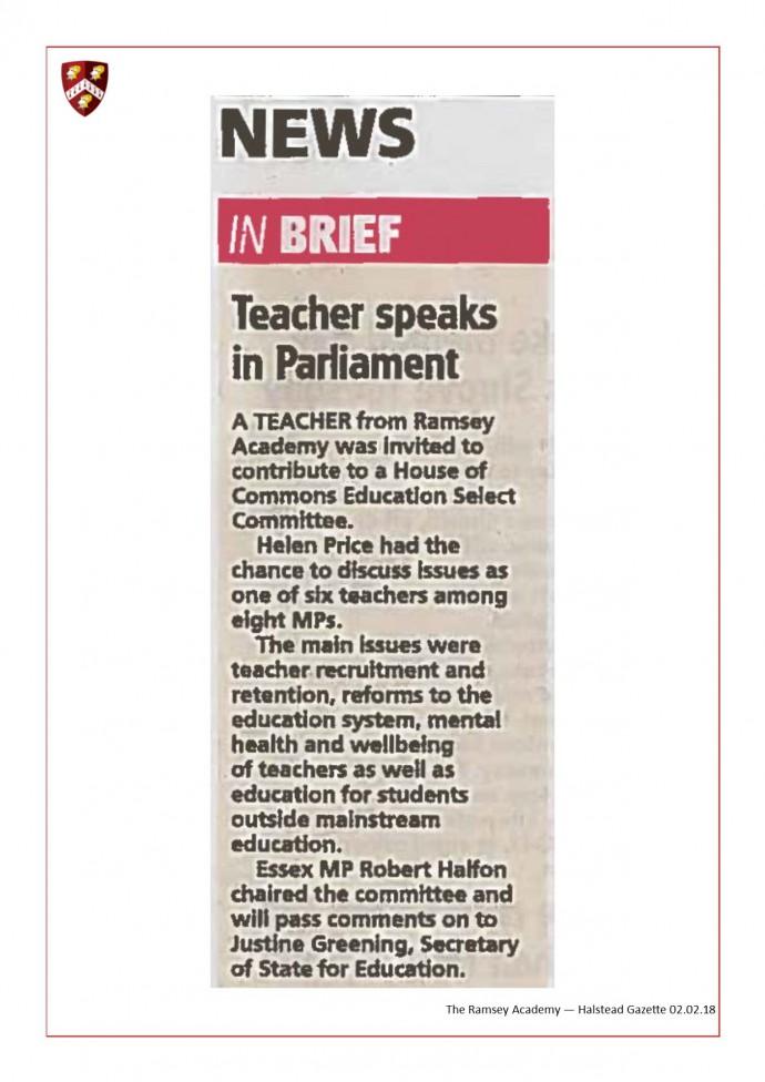 Teacher Speaks In Parliament 02.02.18