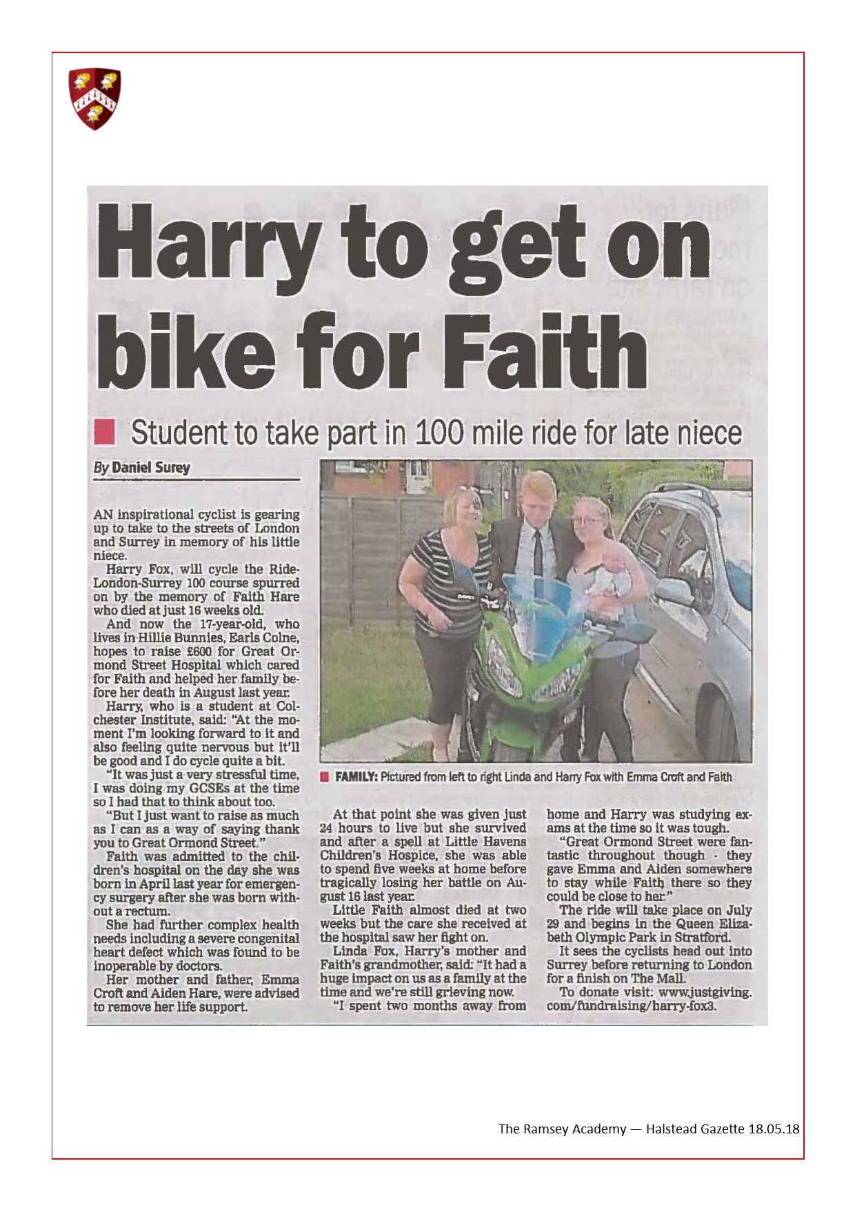 Harry To Get On Bike For Faith 18.05.18