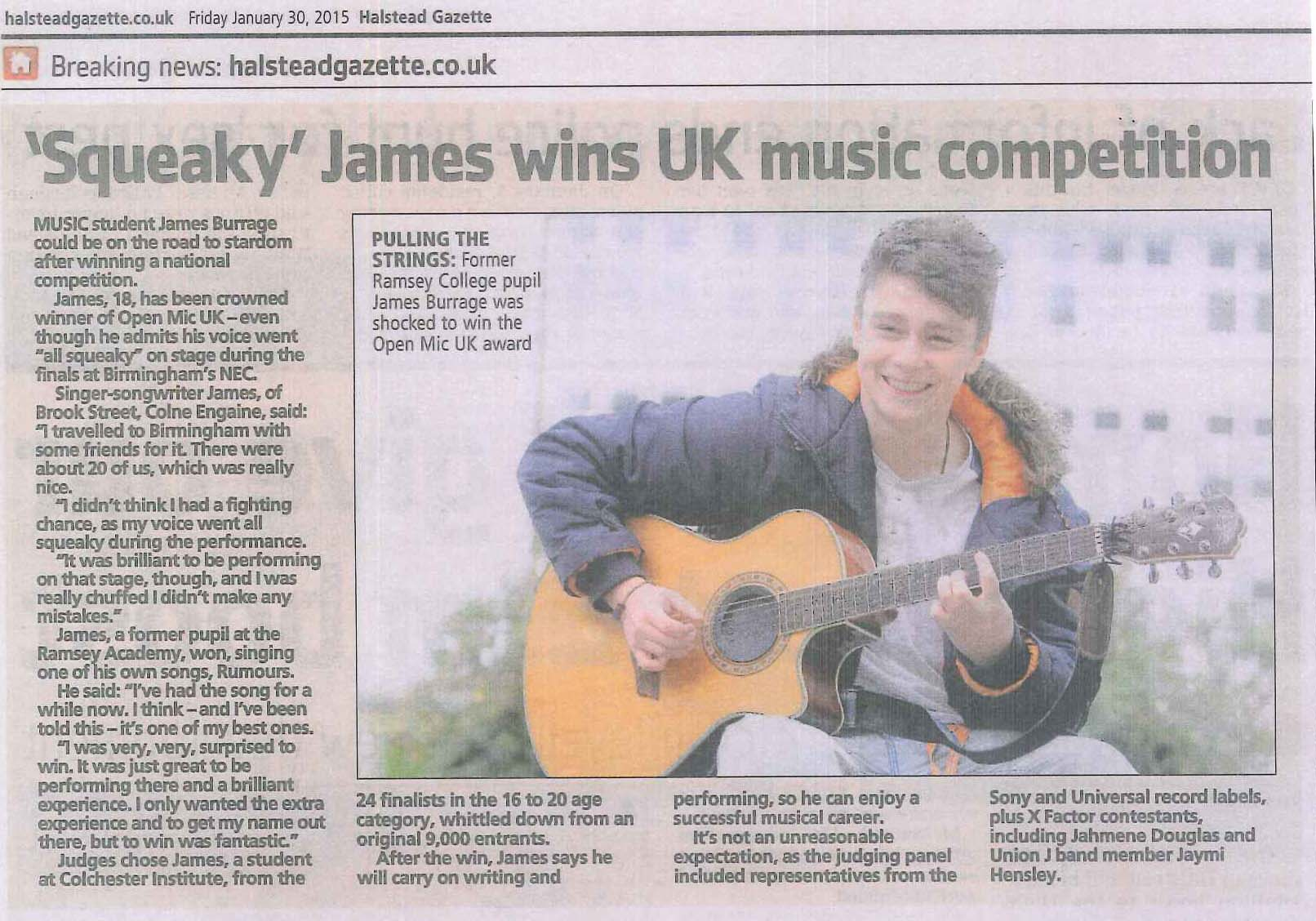Squeaky' James wins UK Music Competition - The Ramsey