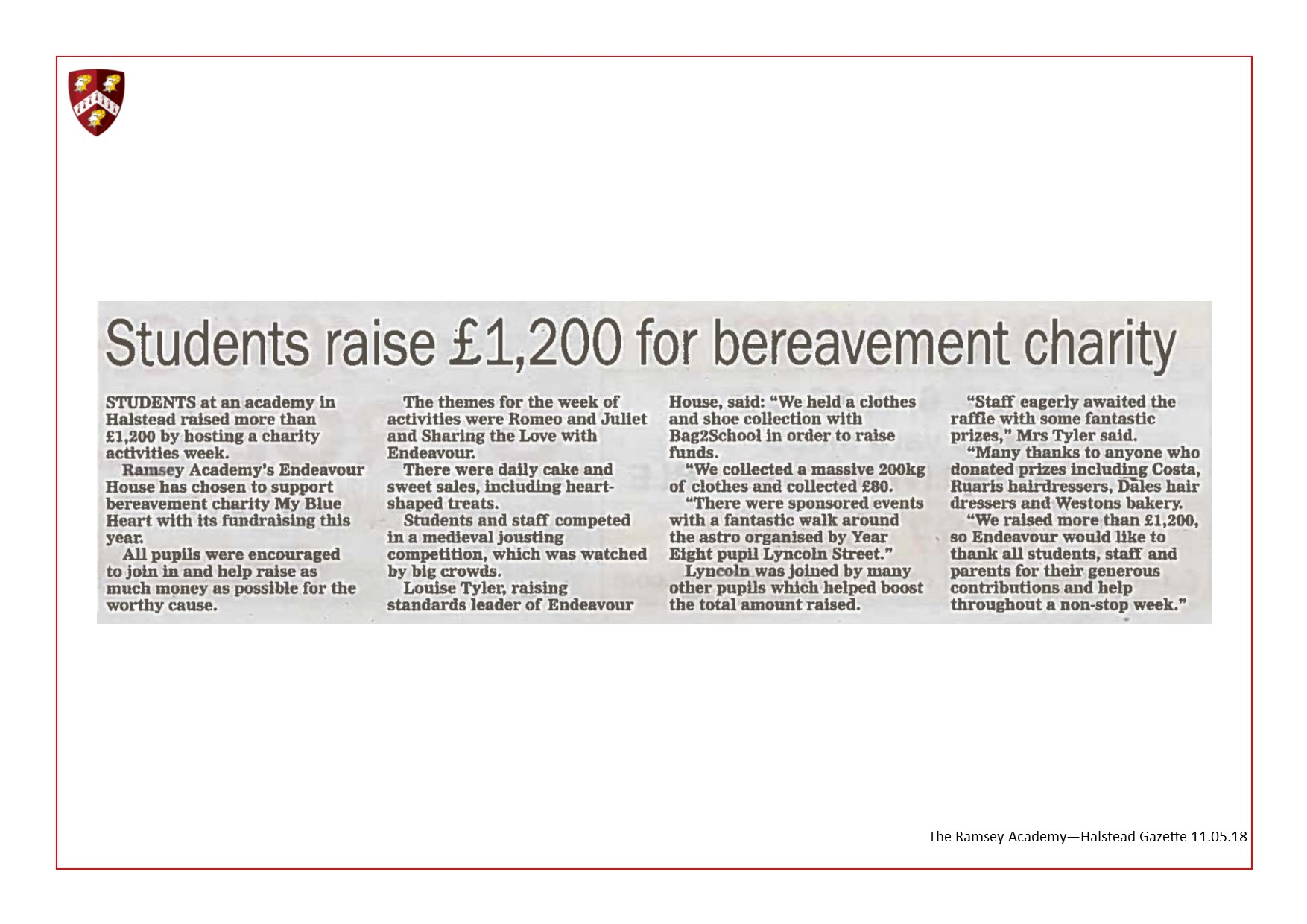Students Raise £1,200 For Bereavement Charity 11.05.18
