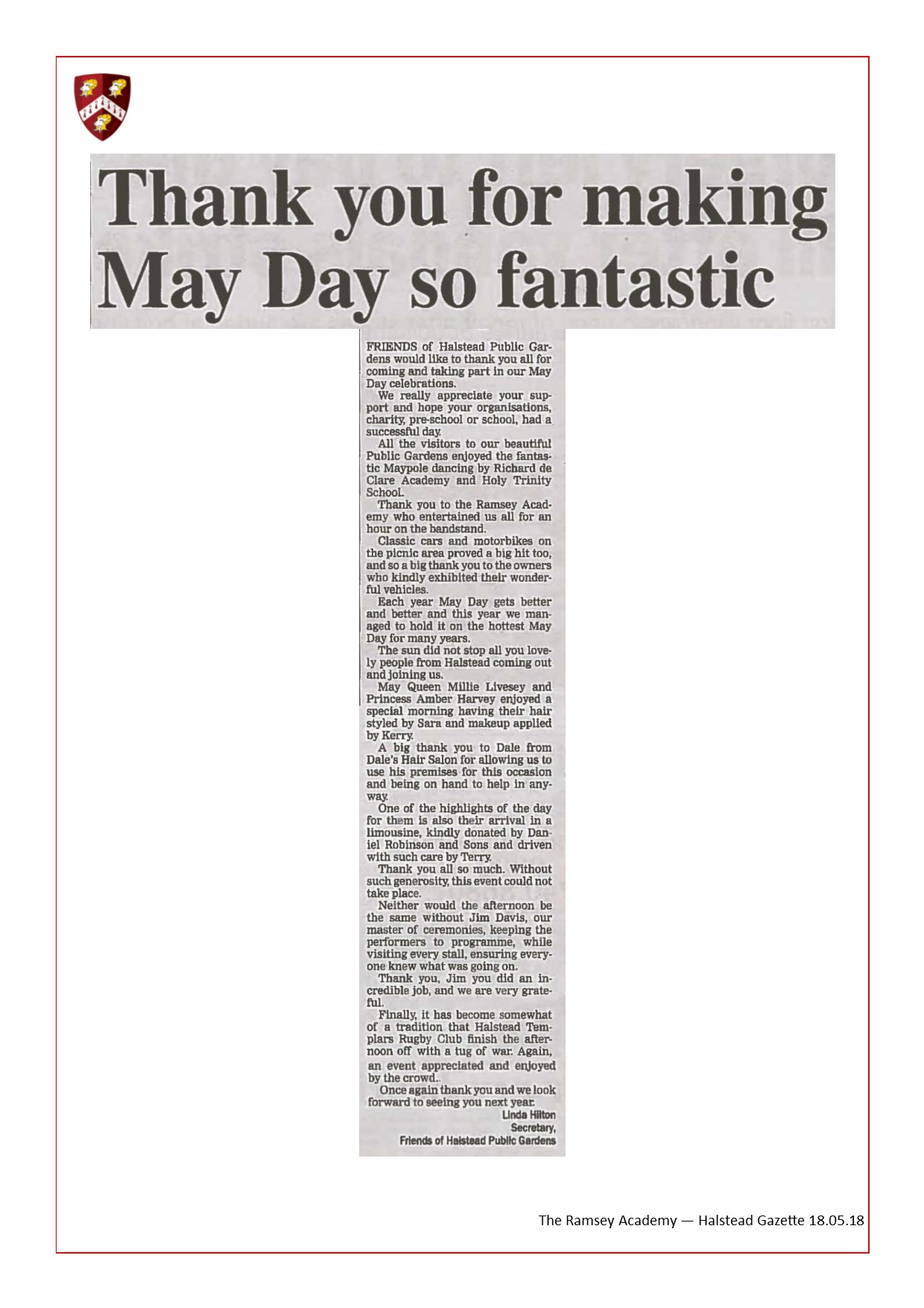Thank You For Making May Day So Fantastic 18.05.18